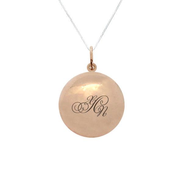 Золотая подвеска шар с буквой или монограммой