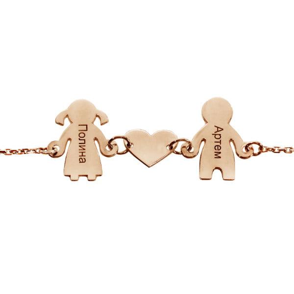 Серебряный браслет с позолотой и шармы в виде деток и сердечка с именами