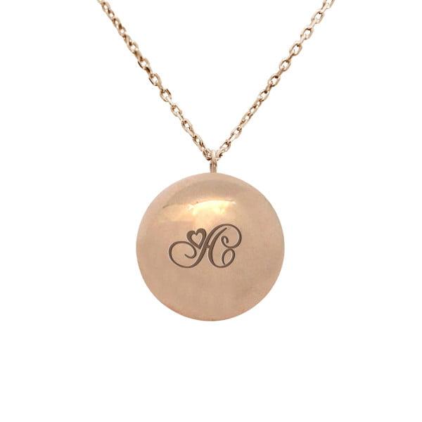 Золотое колье шар с буквой или монограммой