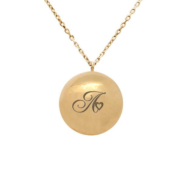 Колье шар из желтого золота с буквой или монограммой