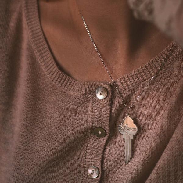 Серебряная подвеска ключ с именем