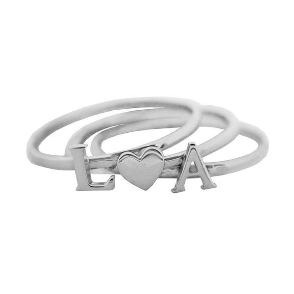 Наборное кольцо с буквами и сердечком из белого  золота