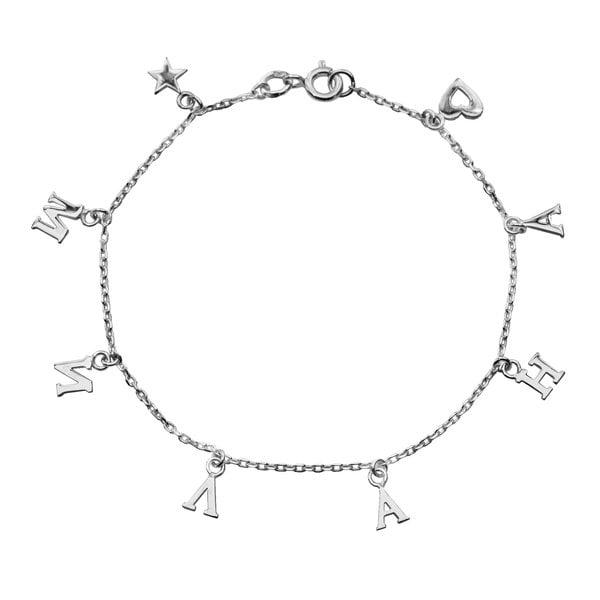 Серебряный браслет с буквами и сердечком