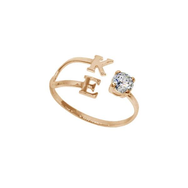 Золотое кольцо с буквами и кристаллом SWAROVSKI