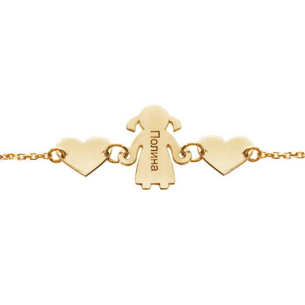 Серебряный браслет с жёлтой позолотой и шармы в виде деток и сердечка с именами