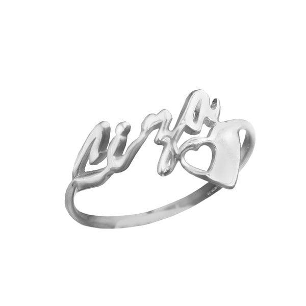 Кольцо из белого золота с именем и сердечком