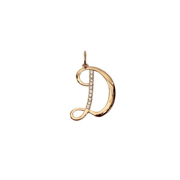 Золотая подвеска-буква «Д» с фианитом
