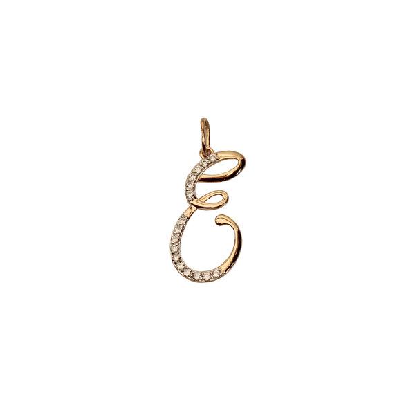 Золотая подвеска-буква «Е» с фианитом