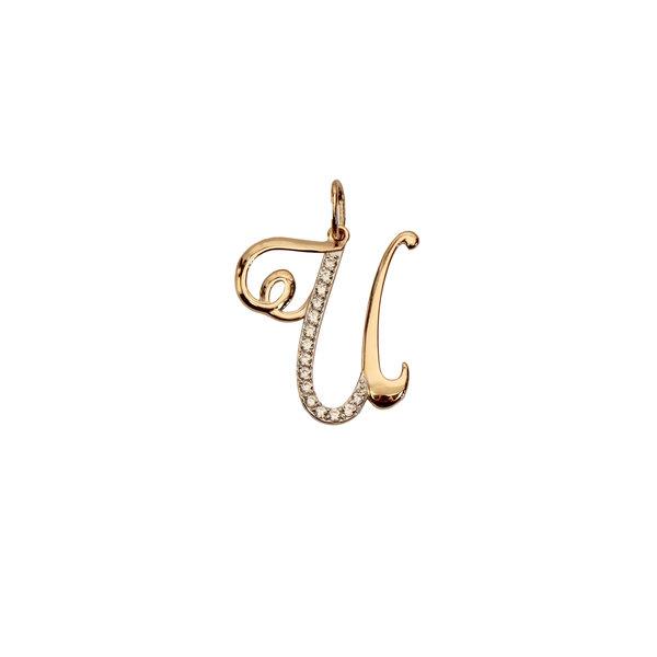 Золотая подвеска-буква «И» с фианитом