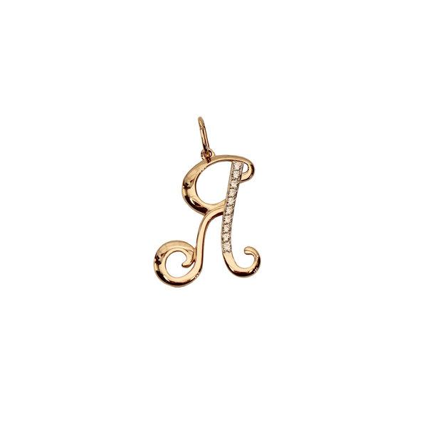 Золотая подвеска-буква «Я» с фианитом