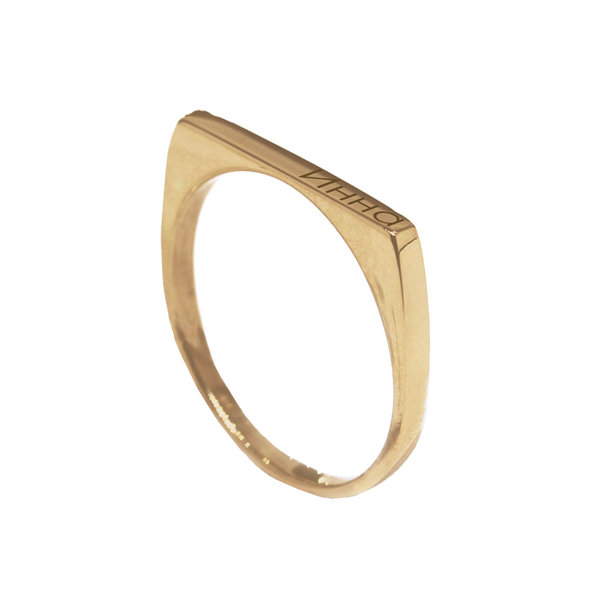Серебряное кольцо с желтой позолотой с именем или надписью
