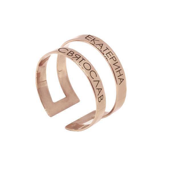 Серебряное кольцо с именами или надписью с позолотой