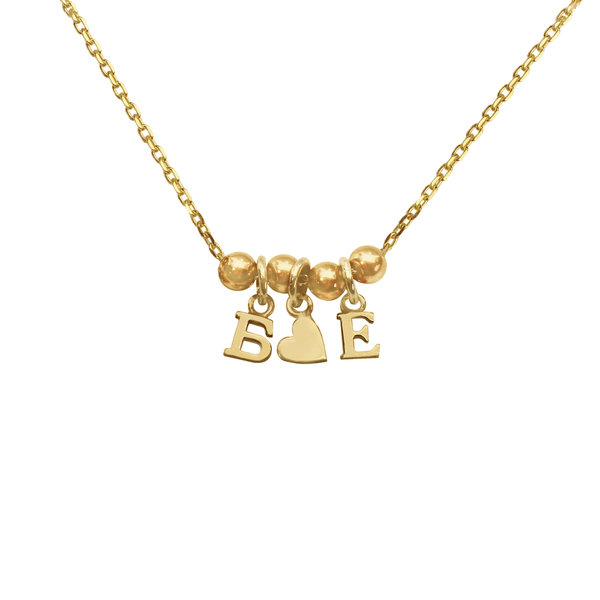 Колье-буквы c сердечком из желтого золота