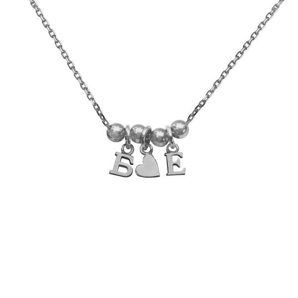 Колье-буквы c сердечком из белого золота