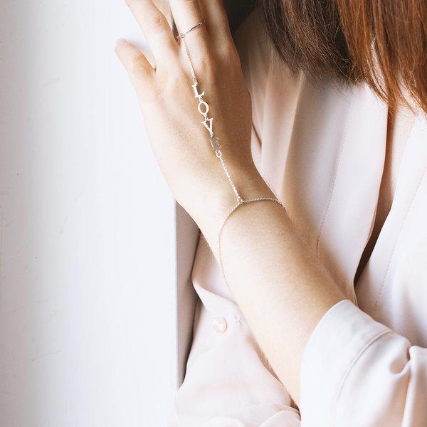 Слейв-браслет из белого золота с  именем