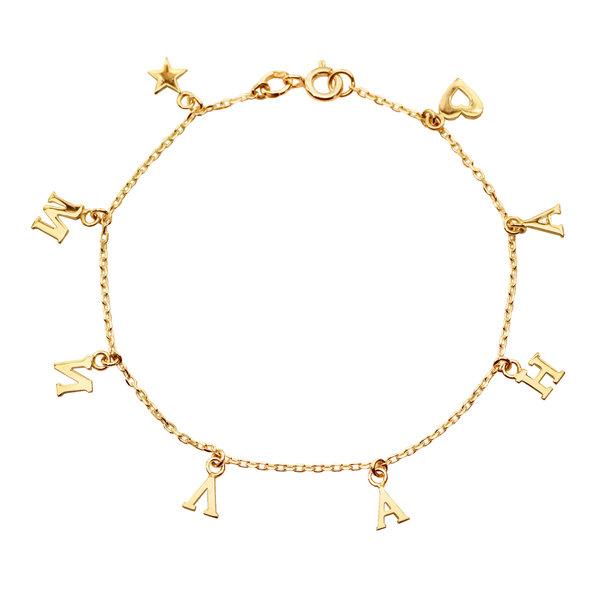 Серебряный браслет с желтой позолотой с буквами и сердечком