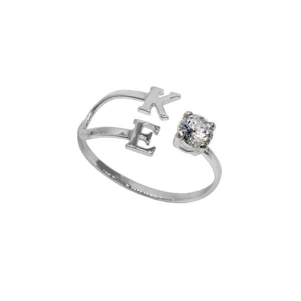 Серебряное кольцо с буквами и фианитом