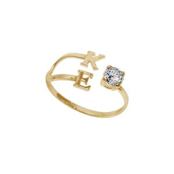 Серебряное кольцо с буквами и фианитом с позолотой