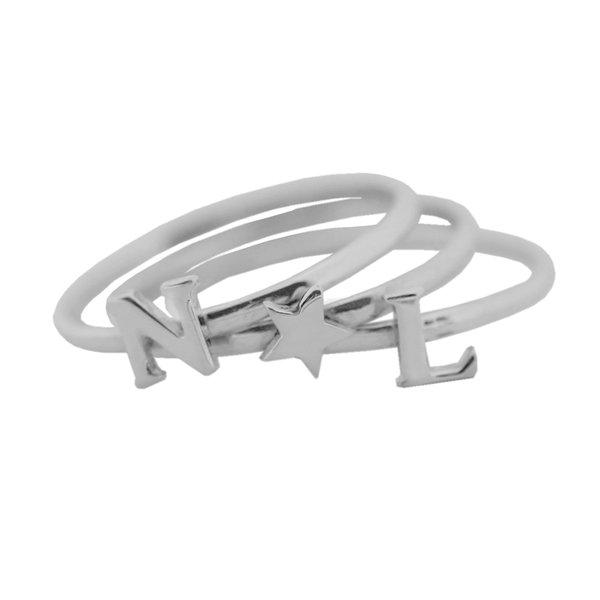 Серебряное наборное кольцо с буквами и сердечком