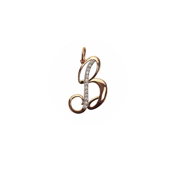Золотая подвеска-буква «В» с фианитом