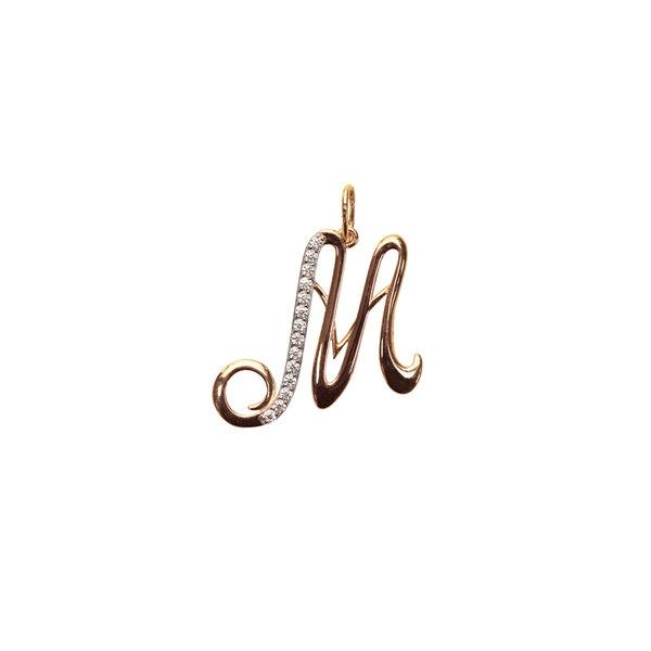Золотая подвеска-буква «М» с фианитом
