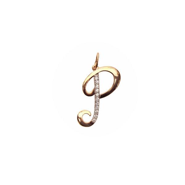 Золотая подвеска-буква «Р» с фианитом