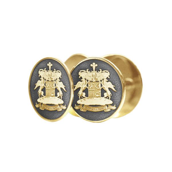 Серебряные с желтой позолотой запонки, с фамильным гербом