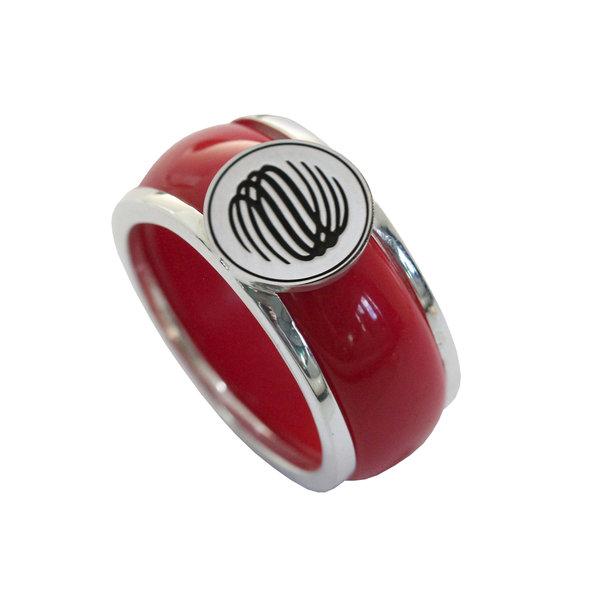 Серебряное кольцо с логотипом или монограммой и вставкой