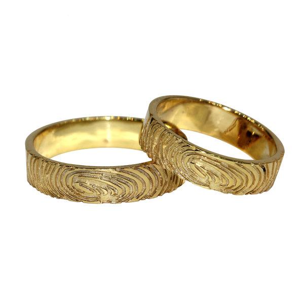 Кольцо из желтого золота сотпечатками пальцев