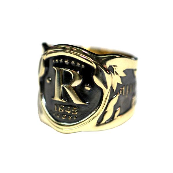 Кольцо из желтого золота с чернением, с буквой или монограммой