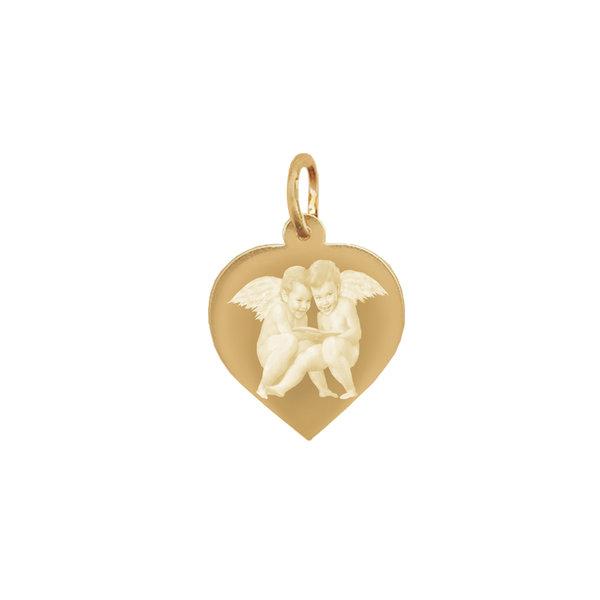 Подвеска сердце с фото или картинкой  из желтого золота