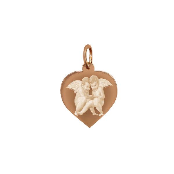 Серебряная подвеска с позолотой  в виде сердца с фото или картинкой