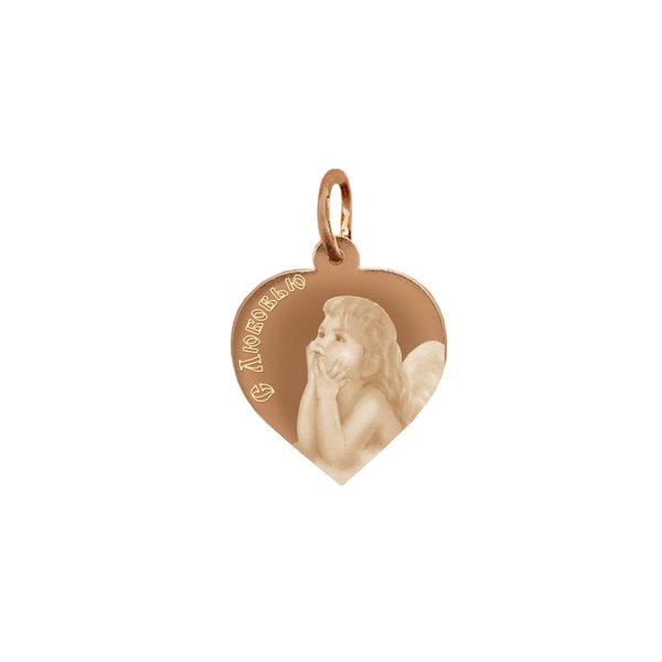 Золотая подвеска сердце с фото или картинкой