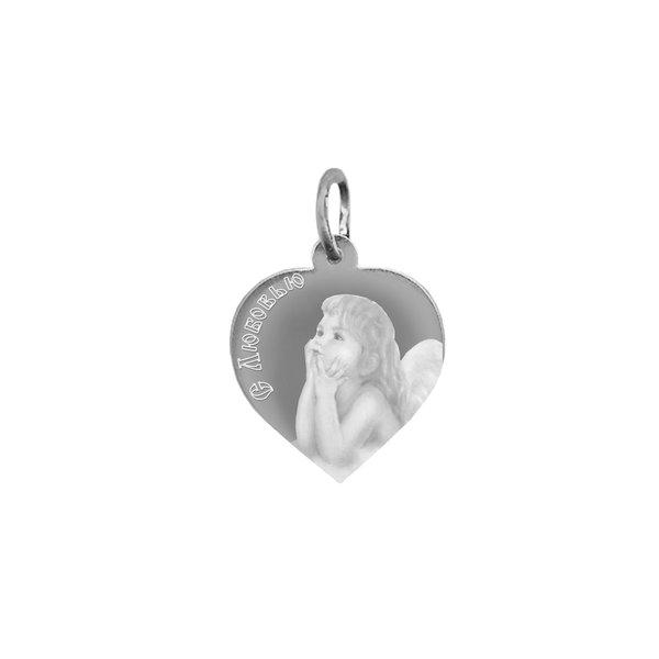 Серебряная подвеска сердце с фото или картинкой