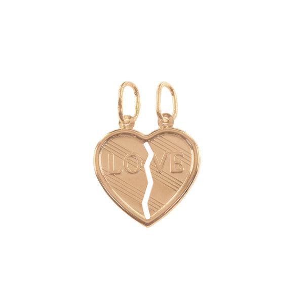 Золотая подвеска сердце на двоих из двух половинок