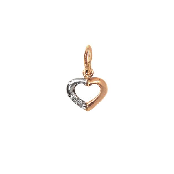 Золотая подвеска сердце с элементами белого золота