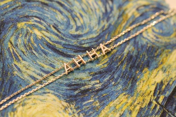 Серебряный браслет с позолотой с надписью