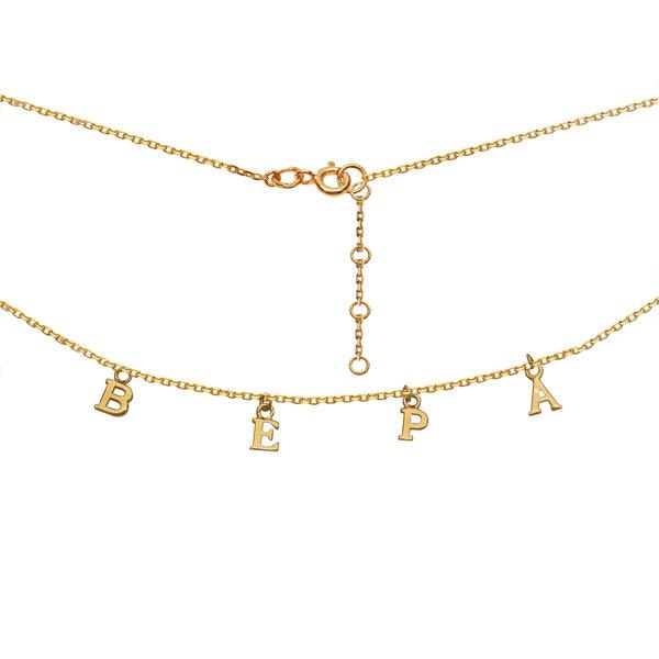 Колье из желтого золота с надписью