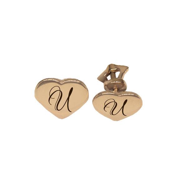 Золотые серьги-пусеты с буквой или монограммой