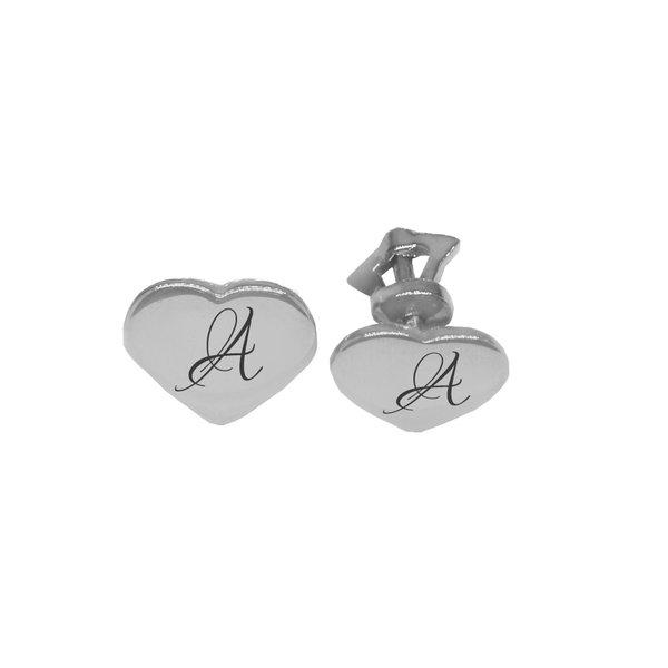 Серебряные серьги-пусеты с буквой или монограммой