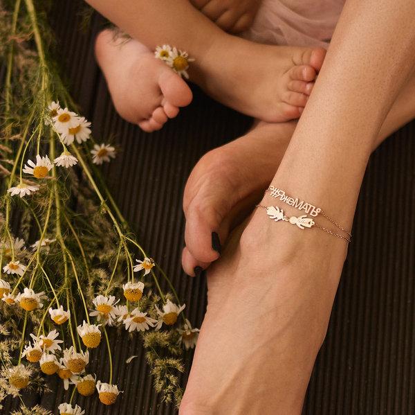 Серебряный браслет на ногу с позолотой