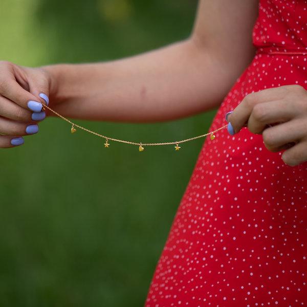 Серебряный браслет  с желтой позолотой на ногу