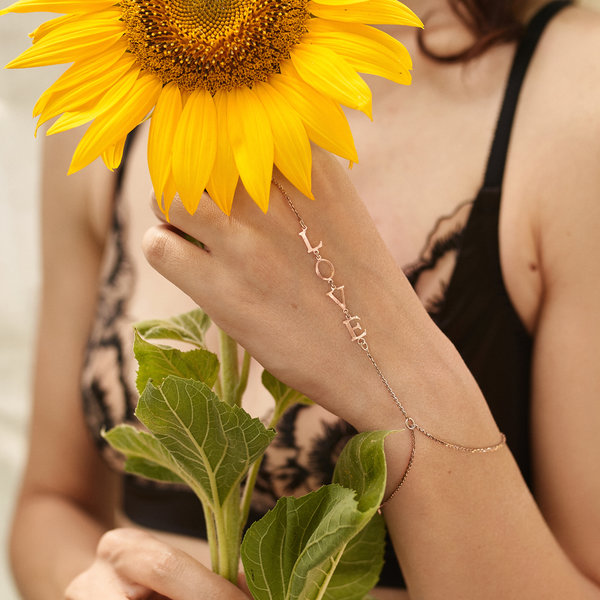 Серебряный слейв-браслет с позолотой с именем