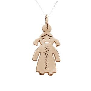 Серебряная подвеска девочка с позолотой с именем