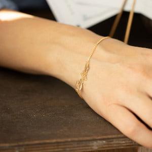 Серебряный браслет с жёлтой позолотой с именем