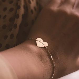Серебряный браслет сердце с позолотой с именем