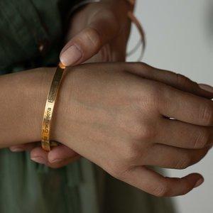 Серебряный браслет с желтой позолотой с именами