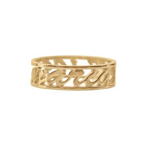 Кольцо из желтого золота с именем и датой рождения