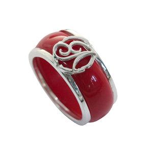 Кольцо из белого золота с логотипом или монограммой и вставкой