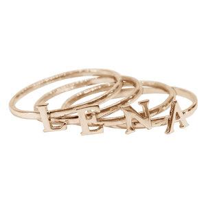 Серебряное наборное кольцо с позолотой с буквами и сердечком